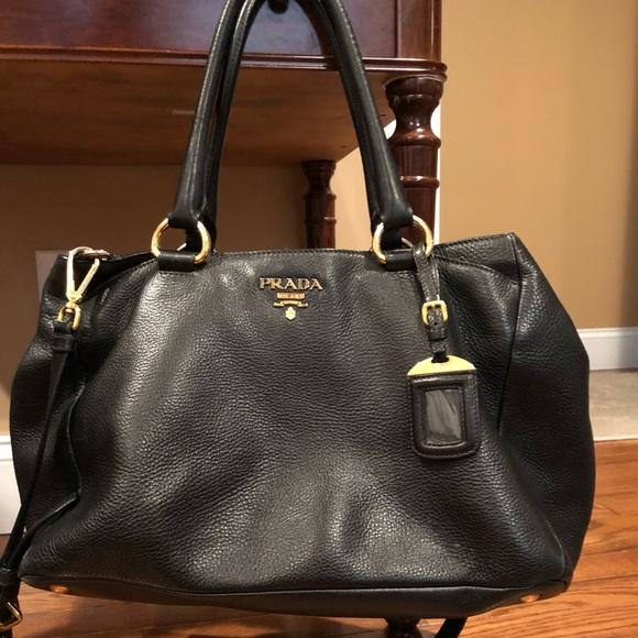 77b0517c5d24 Prada Bags | Black Leather Two Way Bag With Receipt 1927 | Poshmark